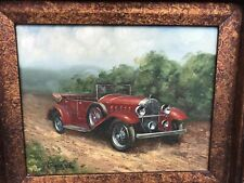 ORIGINAL OIL PORTRAIT PAINTING OF AN ANTIQUE CAR By HOMER IN ORNATE FRAME