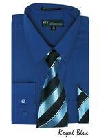 Men's Milano Moda Dress Shirt w/ Matching Tie and Handkerchief Set Style SG21A