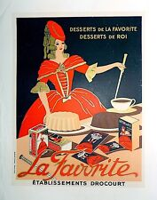 """Vintage French Lithograph """"Dessert"""" Poster on Linen"""