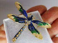 Dainty vintage style blue green enamel crystal diamante dragonfly brooch pin