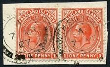 Falkland Is SG Z142 1d Dull Vermilion PAIR used in South Shetland Is