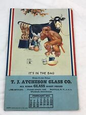 Lawson Wood 1944 Calendar Buffalo New York Monkey Milking Cow Postcard PEI