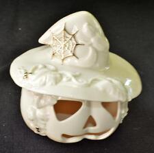 "LENOX Handcrafted White PUMKIN JACK O'LANTERN with HAT & WEB 6 1/2""h Figurine"