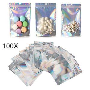 100 Clear Golden Zip Seal Mylar Bags Aluminum Foil Resealable Valve Zipper Pouch