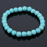 8MM Charm Unisex Natural Turquoise Stone Healing  Beads Stretch Bangle Bracelet