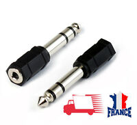 Prise Adaptateur Fiche JACK 6.5 mm vers 3.5 mm mâle femelle Audio Stéréo noir