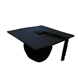 UK Graduation Black Mortarboard cap/hat--graduation gown accessory--Wool