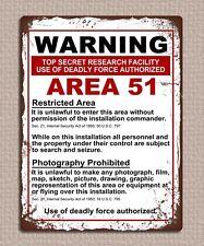 PLACCA di Metallo Segno area Stile Retrò Vintage 51 Avvertenza Immagine Poster 20 x 15cm