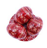 Red Pysanka Ukranian Eggs Hand Painted Easter Eggs Wood Pisanky, Set of 3