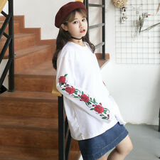 Harajuku Rose Printed White Long Sleeve Round Collar T-shirt Pullover Unisex New