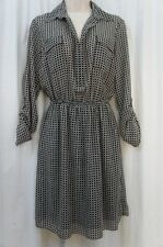 Studio M Dress Sz L Black Oyster White 3/4 Sleeve Collared Business Casual Dress