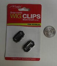 """Snap-Comb Hair Wig Clips Small 15/16"""" Color Black  #050BLAS"""