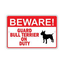 Beware Guard Bull Terrier Dog on Duty Owner Wall Portable Aluminum Metal Sign