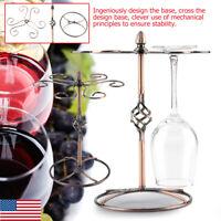 Tabletop 6 Bottles Wine Stand Glass Holder Hanging Rack Stemware Display Shelf