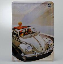 "Air Cooled VW Metal Postcard Sign w/ Ragtop Beetle 3-7/8"" x 5-1/2"" 366202"