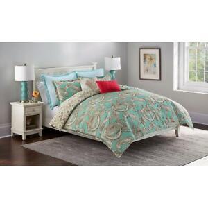 Cannon 7-Pc Aqua Paisley KING Comforter Set