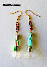 Handcrafted abalone seashell/copper chain/crystal bead/eco friendly earrings