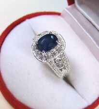 2.22 CTW BLUE & WHITE SAPPHIRE RING size 7 - WHITE GOLD over 925 STERLING SILVER