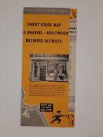 LA HOLLYWOOD CALIFORNIA 1947 Map GUIDE brochure VINTAGE tourist DECO