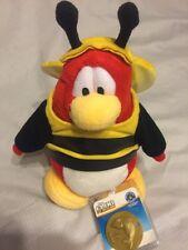"New! Disney Club Penguin Series 14 Bumble Bee Bourdon 6.5"" Plush NWT Has Coin"