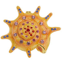 RUCINNI Yellow Sea Shell Jeweled Trinket Box with SWAROVSKI Crystals