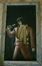 "Vintage Elvis Presley Red Suit Oil Painting in Black Velvet Framed 23"" x 14"""