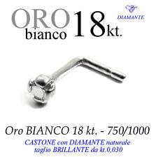 Piercing naso nose GRIFF 4 punte ORO BIANCO 18kt. DIAMANTE kt.0,030 white gold