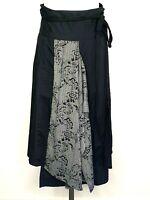 Nelson Molloy Black Grey Boho Peasant Wrap Skirt Size Small