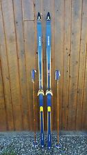 "Vintage Wooden 80"" Long Skis BLUE AND BLOND Finish Signed NORVIK + Poles"