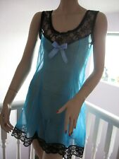 Sheer Soft Nylon Blue Black baby doll lace slip Lingerie Adult feminine Glamour