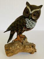 """Vintage Mid Century Modern Owl Figurine 7"""" Statue Wildlife Nature Wood"""