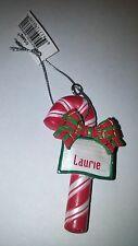 "GANZ CANDY CANE PERSONALIZED CHRISTMAS ORNAMENT ""LAURIE"""