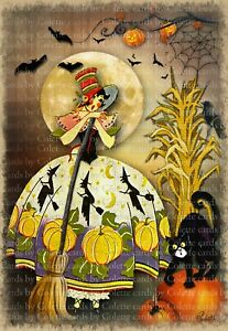 Cards by Colette ''Halloween Witch and Cat'' Greeting Card6027
