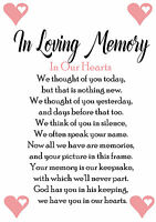 In Loving Memory Wedding Sign Memorial Table A5 A4 A3 Any colour card available
