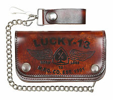 LUCKY 13 [IRON HORSE] LEATHER WALLET LEDER GELDBÖRSE ROCKABILLY GREASE TATTOO IN