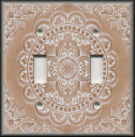 Metal Light Switch Plate Cover Antique Tile Design Tan Home Decor Switchplates