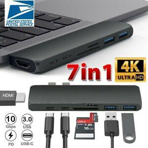 7-in-1 Aluminum USB Type-C Port Pro Hub HDMI 4K HD SD/TF Adapter NEW MacBook Pro