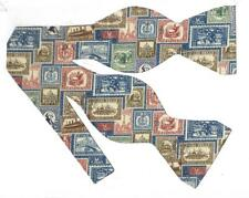 Collectable Stamps Bow tie / Vintage Postage Stamps on Blue / Self-tie Bow tie