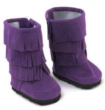 "For 18"" American Girl Doll Clothes Purple Moccasin Boots Fringe Shoes"