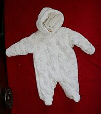First Impressions Snowsuit/Pram size 0-3 mo retail $54.50 White/Gray Stars