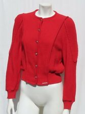 GEIGER Austria Red Boiled Wool Cardigan Sweater Jacket Top size 40 8 10 M EUC