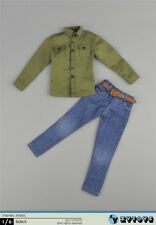 ZYTOYS 1/6 ZY-5001 Male Green Shirt W Jeans Cowboy Pants Clothes Set