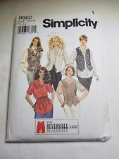 SIMPLICITY 9862, MISSES SHIRT AND VEST. SIZE 12-16, PREOWNED UNCUT