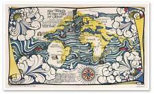 "Old World Exploration Map According to Sebastian Cabot circa 1924 - 24"" x 40"""