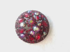 Vintage Weiss Red Aurora Borealis Rhinestone Dome Shaped Covered Pin Brooch L@@K
