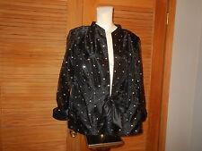 Evening Wedding Jacket R&M Richards Woman Black Silver Sheer Sleeves Sz 14 1813