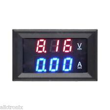 2 Piezas DC Voltímetro Digital Doble 100V 10A LED Azul Rojo Amperímetro AMP