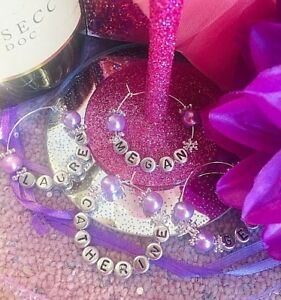 1 PERSONALISED WINE CHAMPAGNE GLASS CHARM RING Wedding birthday party Girls Hen