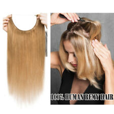 """14"""" Straight Invisible Wire Wire Halo Hair Extensions 100% Remy Human Hair 80G"""