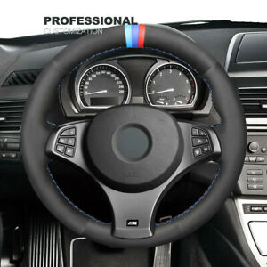 Non-slip Durable Black Suede Car Steering Wheel Cover For BMW E83 X3 M Sport